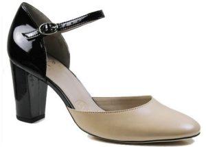 Block Heels Black Patent Nude